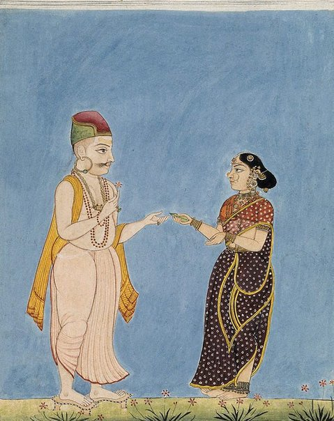 An image of A brahmin and his wife by Company school