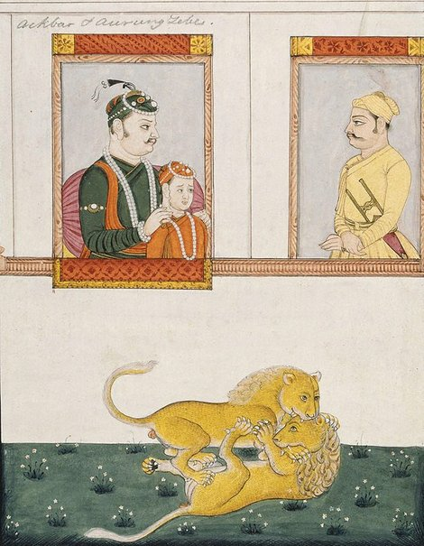 An image of Akbar with young Salim and Jahangir by Company school
