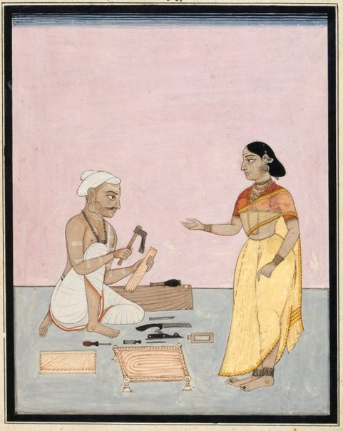 An image of A carpenter and his wife by Company school