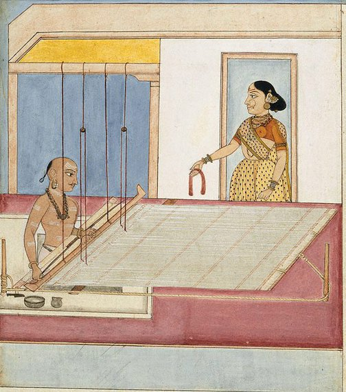 An image of A weaver and his wife by Company school