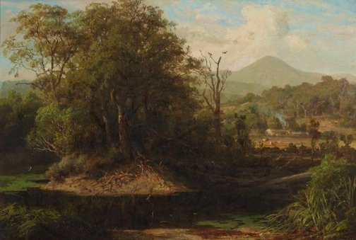 An image of A pool at Yeringberg near Lilydale by Louis Buvelot