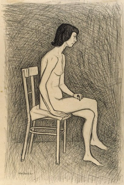 An image of Study for 'Nude with two chairs' no 2 by John Brack