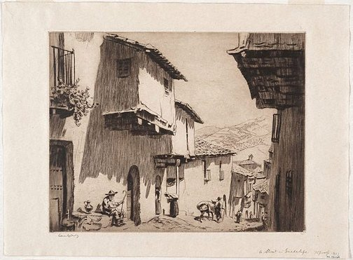An image of A street in Guadalupe by Lionel Lindsay