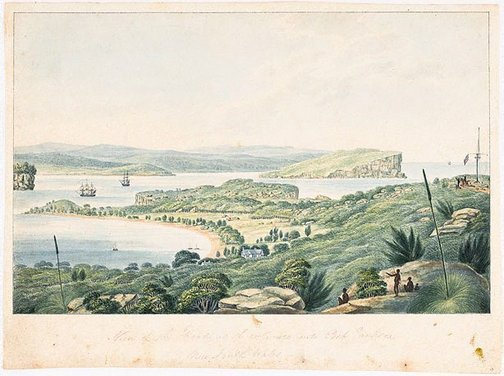 An image of View of the Heads, at the entrance into Port Jackson by Joseph Lycett