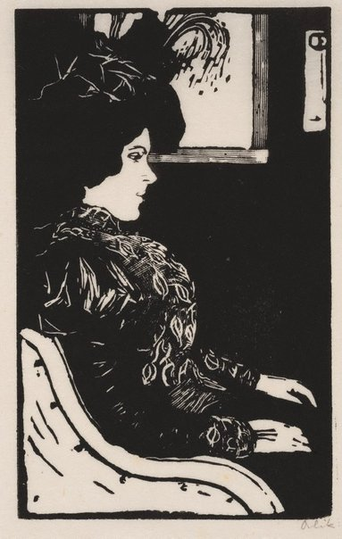 An image of Woman in a compartment by Emil Orlik