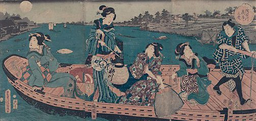 An image of Crossing the Sumida river at night by Toyohara KUNICHIKA
