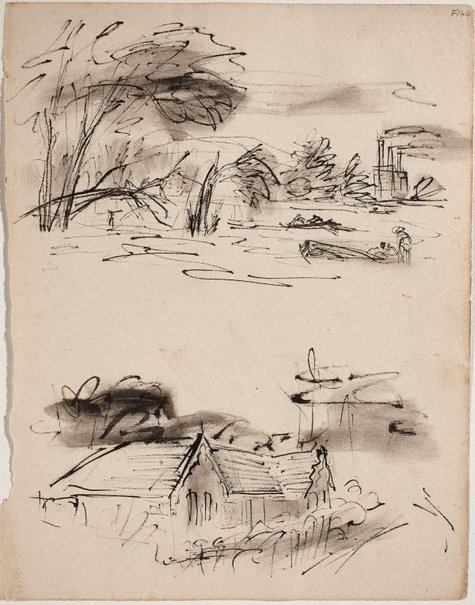 An image of (Study of shoreline and study of house) (Late Sydney Period) by William Dobell
