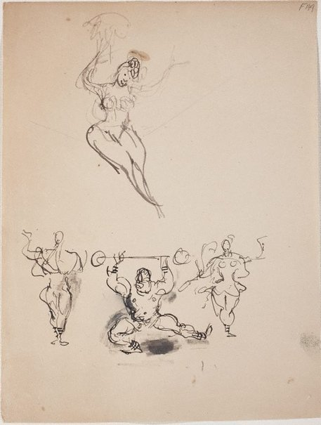 An image of (Studies of circus performers) (Late Sydney Period) by William Dobell