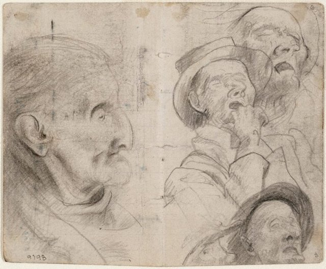 An image of recto: Studies of old men, man in a hat sleeping verso: Study of old man, Lidcombe Hospital