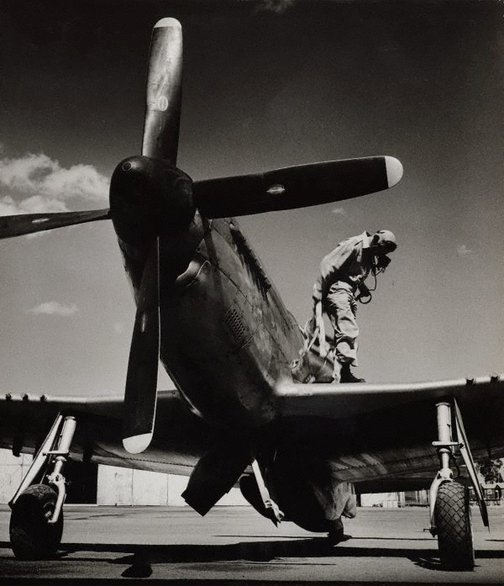 An image of untitled (airplane and pilot) by Max Dupain