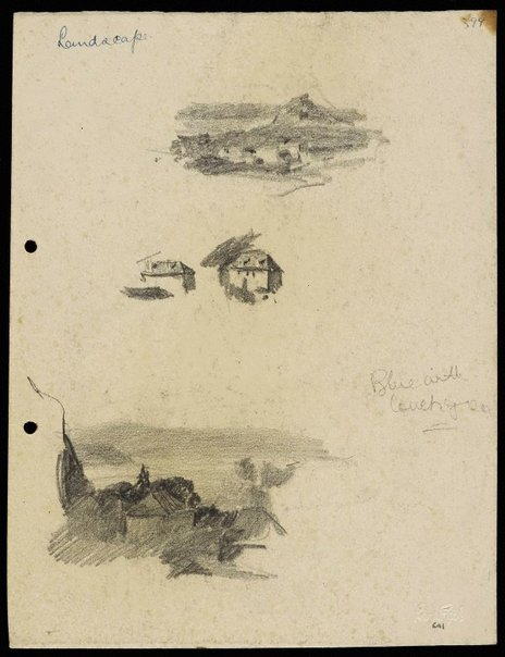 An image of Small hilly landscape [top] and Houses [centre] and Harbour and houses [bottom] by Lloyd Rees