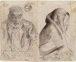 Alternate image of recto: Lidcombe Hospital verso: Studies of old men, and blind eye by Eric Wilson
