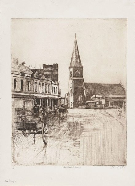 An image of Christ Church, Old Sydney by Sydney Long