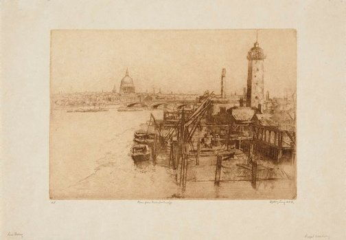 An image of The Thames from Waterloo Bridge by Sydney Long