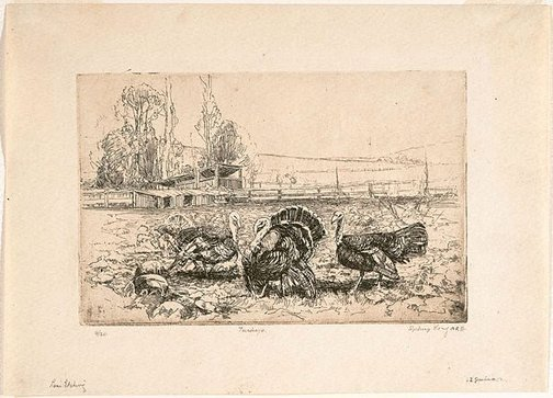An image of Turkeys and pumpkins by Sydney Long
