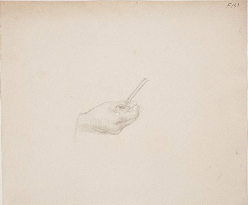 An image of (Study of hand holding a pipe) (Late Sydney Period) by William Dobell