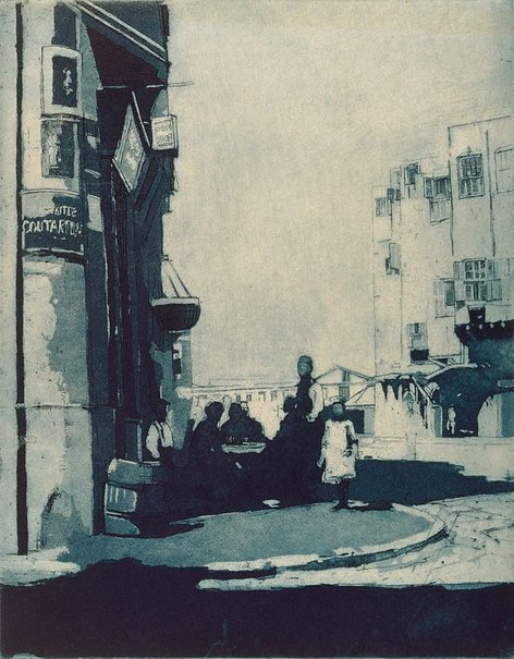 An image of Street scene Alexandria by Sydney Long