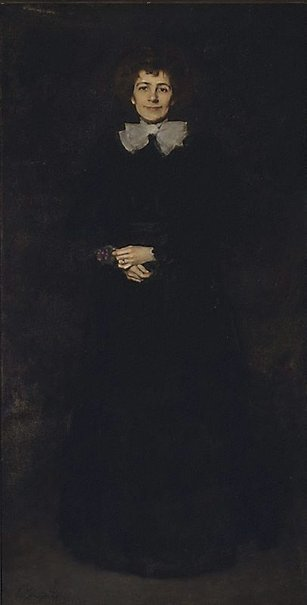 An image of Lady in black by John Longstaff