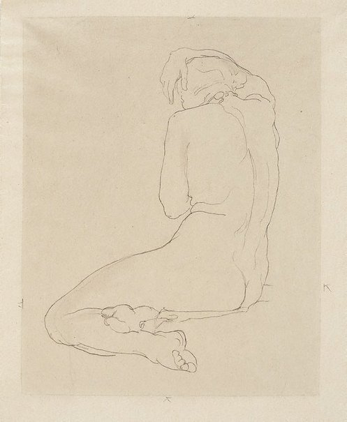An image of Seated female nude, arm over head by Rupert Bunny