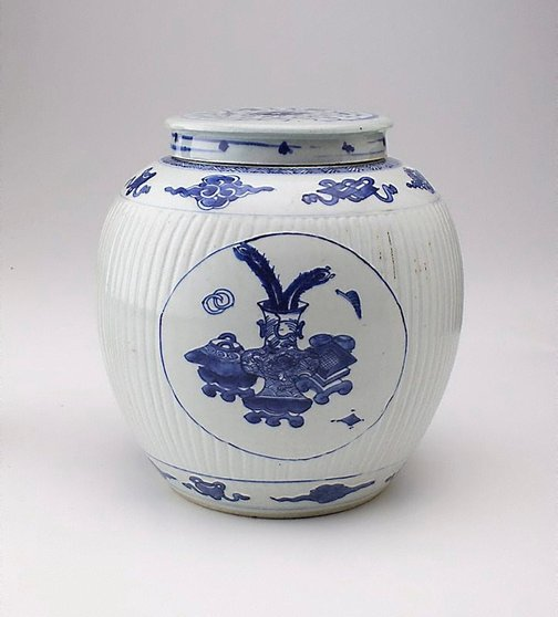 An image of Ginger jar with fluted body by