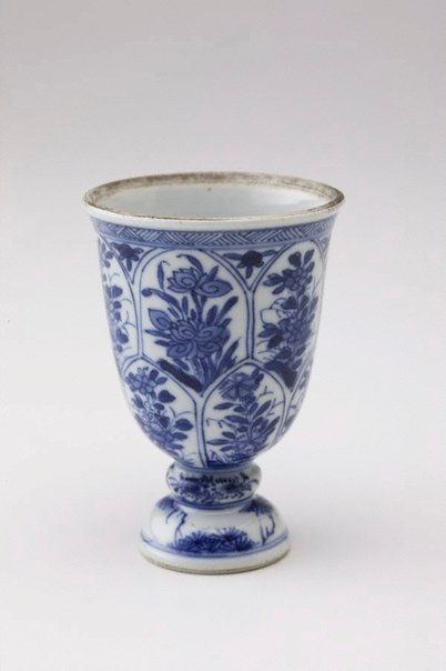 An image of Stem cup with lotus leaf shaped panels by Export ware