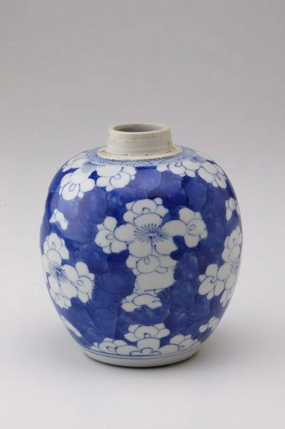 An image of Jar with prunus and 'cracked ice' decoration by