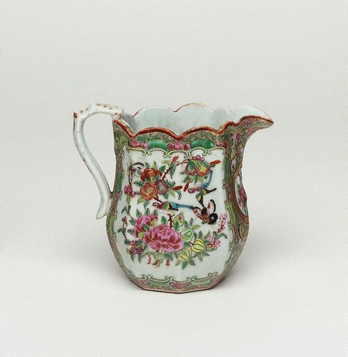 An image of Jug decorated with narrative scene, and with birds and flowers by Export ware, Canton ware