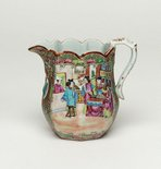 Alternate image of Jug decorated with narrative scene, and with birds and flowers by Export ware, Canton ware