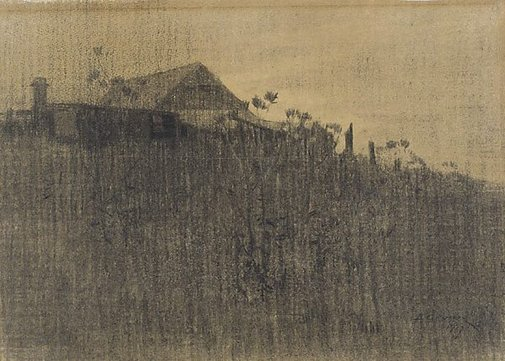 An image of Farm buildings on a hillside, twilight by Elioth Gruner