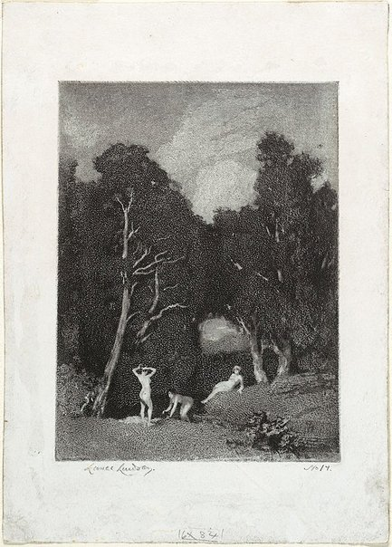 An image of Bathers (three nudes bathing under trees) by Lionel Lindsay