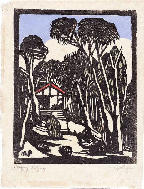 An image of The garage by Margaret Preston