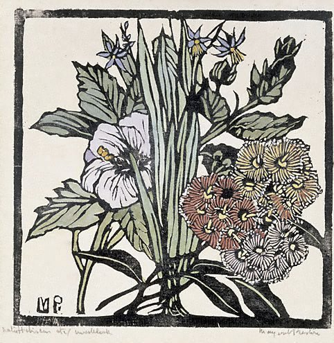 An image of Native hibiscus and gum flowers by Margaret Preston
