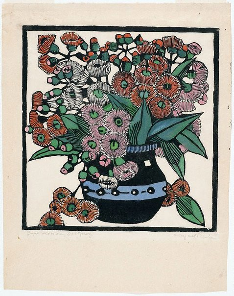 An image of Gum blossoms by Margaret Preston