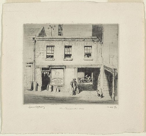 An image of The tinsmith's shop by Lionel Lindsay
