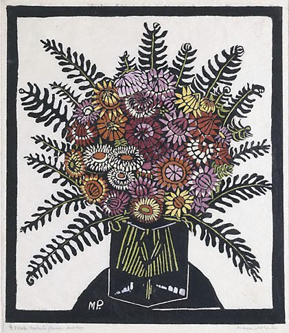 An image of Everlasting flowers by Margaret Preston