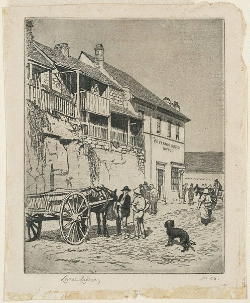 An image of The Governor Bourke Hotel, Sussex Street, Sydney by Lionel Lindsay