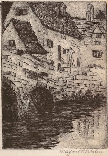 An image of (The old mill, Bibury Court Farm, Bibury) by Margaret Preston