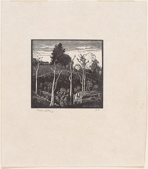 An image of Kurrajong orchard by Lionel Lindsay