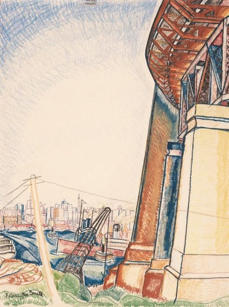 An image of Circular Quay from Milson's Point by Grace Cossington Smith