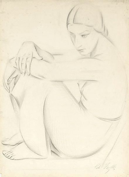 An image of Seated female figure, side-view