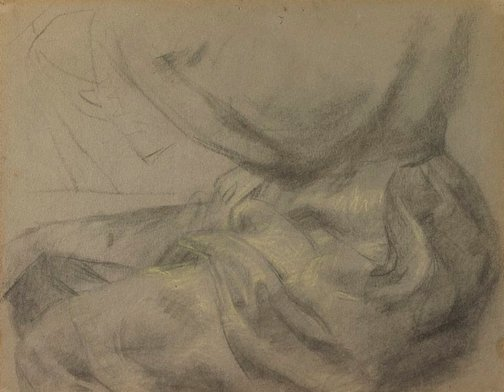 An image of recto: Self portrait, drapery study of lap verso: (a shell) by Eric Wilson
