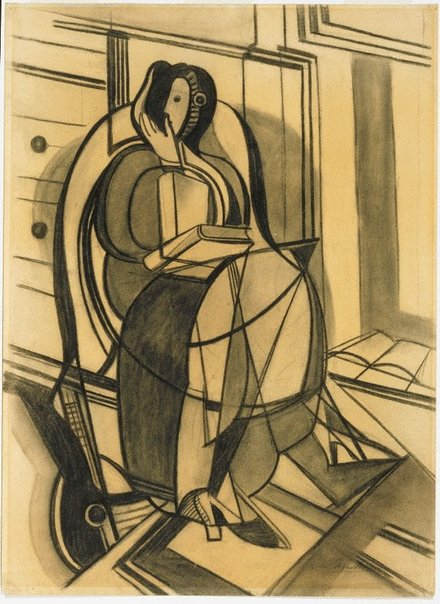 An image of recto: Seated figure (Margaret McLeod) verso: (sketch of a seated female figure) by Roy de Maistre