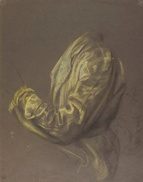 An image of Self portrait, drapery study of left arm by Eric Wilson
