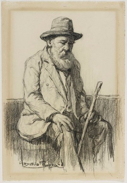 An image of Study of an old man seated by Antonio Dattilo-Rubbo