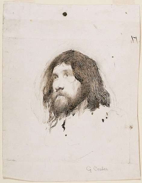 An image of Head study of a bearded man by George James Coates
