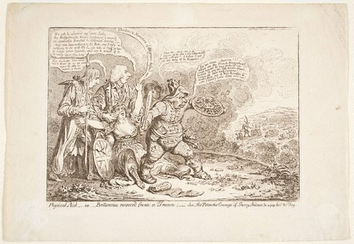 An image of Physical aid by James Gillray