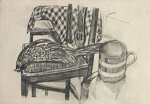 An image of Still life with pheasant by John Bratby