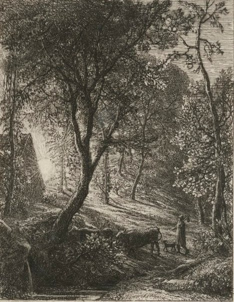 An image of The herdsman's cottage by Samuel Palmer