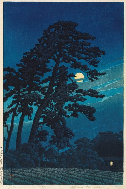 An image of Full moon in Magome by Kawase Hasui