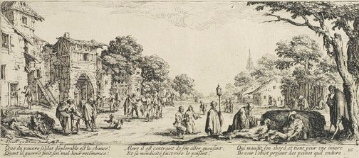 An image of Dying soldiers by a roadside by Jacques Callot